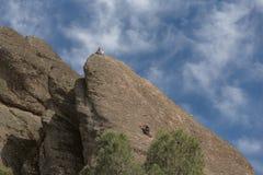 Escalada fêmea de dois montanhistas exterior foto de stock