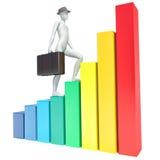 escaladas do homem 3d na carta Imagem de Stock Royalty Free