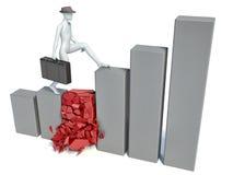 escaladas do homem 3d na carta Imagem de Stock