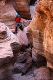 Escalador de roca en barranca Imágenes de archivo libres de regalías