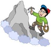 Escalador de roca en la montaña Imagenes de archivo