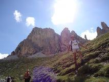 Escalador en alta montaña Fotografía de archivo libre de regalías