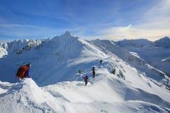 Escaladores atados que suben la montaña con el campo de nieve atado foto de archivo libre de regalías