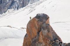 Escaladores de Aiguille du Midi Fotos de archivo libres de regalías