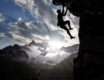 Escaladores en las montan@as suizas Foto de archivo libre de regalías