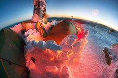 Escaladores Ucrania del campo del Año Nuevo Imagen de archivo