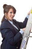 Escalando a escada corporativa; isolado Imagem de Stock Royalty Free