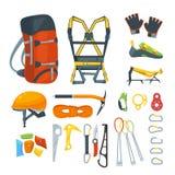 Escalando o equipamento, vector ícones e grupo de elementos do projeto Engrenagens e acessórios extremos do esporte do alpinismo ilustração royalty free