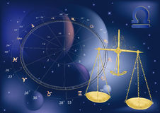 Escalas astrológicas de las muestras Imagen de archivo libre de regalías