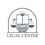 Escalas Center legais de justiça, ícone aberto do livro da lei Fotografia de Stock