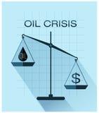 Escalas clásicas de la justicia con el descenso de la muestra del aceite y de dólar Imagenes de archivo