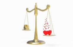 Escalas com ouro e corações Imagem de Stock
