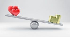 Escalas con los corazones y el dinero Fotografía de archivo libre de regalías