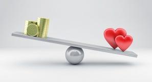 Escalas con los corazones y el dinero Foto de archivo libre de regalías