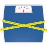 Escalas con una cinta de medición Imagen de archivo libre de regalías