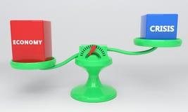 Escalas da economia e da crise, 3d ilustração do vetor