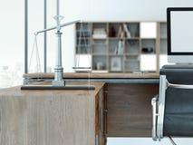 Escalas de justiça na tabela de madeira rendição 3d Fotografia de Stock Royalty Free