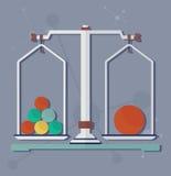 Escalas de la ciencia para el experimento químico Imágenes de archivo libres de regalías