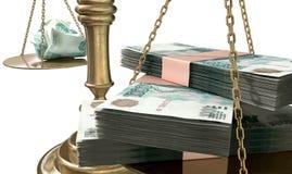 Escalas de la desigualdad de la justicia Income Gap Russia Imagen de archivo libre de regalías