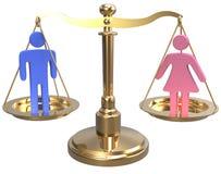 Escalas de la justicia 3D del sexo de la igualdad de género Foto de archivo libre de regalías