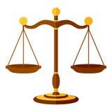 Escalas de la justicia Flat Icon Isolated en blanco ilustración del vector