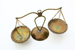 Escalas de la ley Símbolo de la justicia aislado Fotografía de archivo libre de regalías