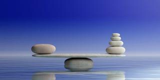 Escalas de los ZENES Stone en fondo azul ilustración 3D Imágenes de archivo libres de regalías