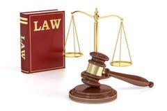 Escalas de madera del mazo, bajas y de oro de la justicia Concepto de la justicia, Imagen de archivo libre de regalías