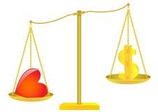 Escalas de oro. Dólar y corazón. Imagenes de archivo