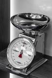 Escalas de prata da cozinha com uma seta vermelha na prateleira Fotografia de Stock