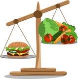 Escalas del ejemplo del vector con una hamburguesa y las verduras foto de archivo libre de regalías