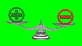 Escalas en fondo verde Muestra más y menos 3d aislados rinden ilustración del vector