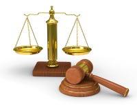 Escalas justiça e martelo no fundo branco ilustração royalty free