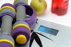 Escalas, manzana y pesas de gimnasia Fotografía de archivo libre de regalías