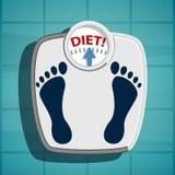Escalas para pesar overweight ilustração royalty free