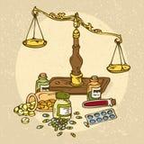 Escalas y píldoras farmacéuticas Imágenes de archivo libres de regalías