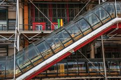 Escalator's detail on the Center Georges Pompidou in cloudy day at Paris. stock photography