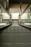 Escalator. Moving escalator in select focus in a shopping mall Stock Image