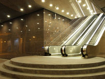 Escalator. In office building at night Royalty Free Stock Photos