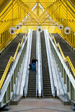 Escalator. And Yellow Construction. Foot-bridge in Moskow Royalty Free Stock Image
