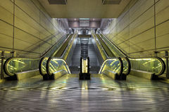 Escalator. In an underground railway Royalty Free Stock Images