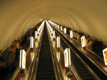 Escalator. In the Kiev subway Stock Photo