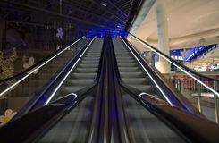 Escalator. In empty shopping mall Stock Photos