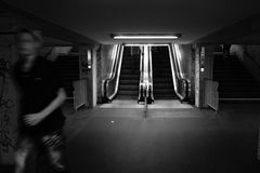 Escalator. In a subway station Royalty Free Stock Photos