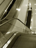 Escalator. View from the top of an escalator Royalty Free Stock Photo