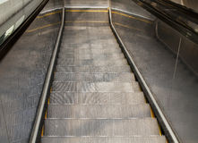 Escalator From Above. Looking down from the top of an escalator Royalty Free Stock Photo