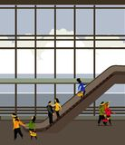 Escalator in the airport building Stock Images