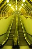 The escalator on Bogdan Khmelnytsky Bridge (The Kiev foot bridge) at night. Russia, Moscow Stock Images