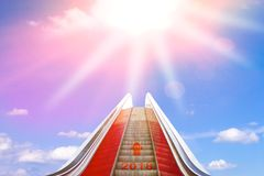 Escalator bright sun light 2018 Stock Photography