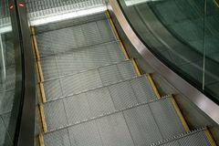 Escalator in Community Mall, Shopping Center. Moving electric e. Escalator in Community Mall, Shopping Center. Close up to Moving electric escalator stock photography